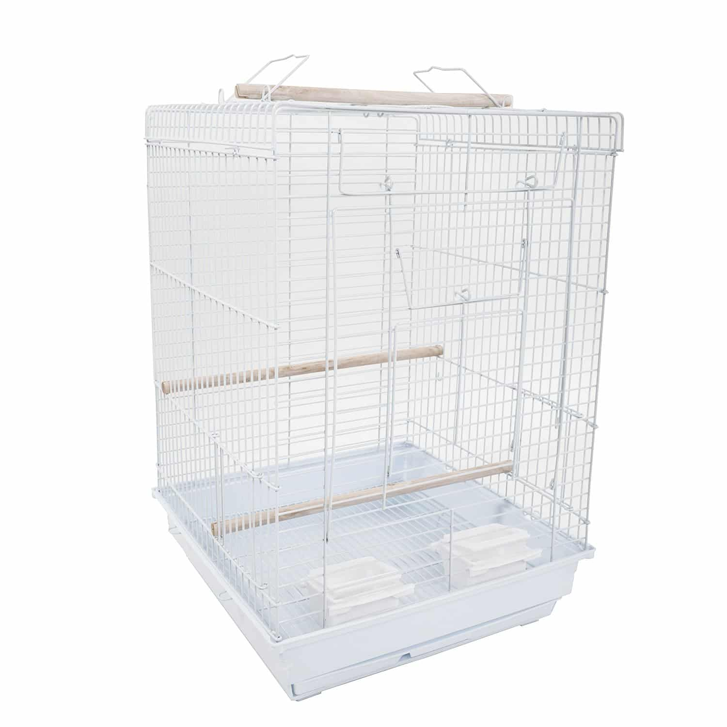 Bird Cage Pet Supplies Metal Cage with Open Play Top White
