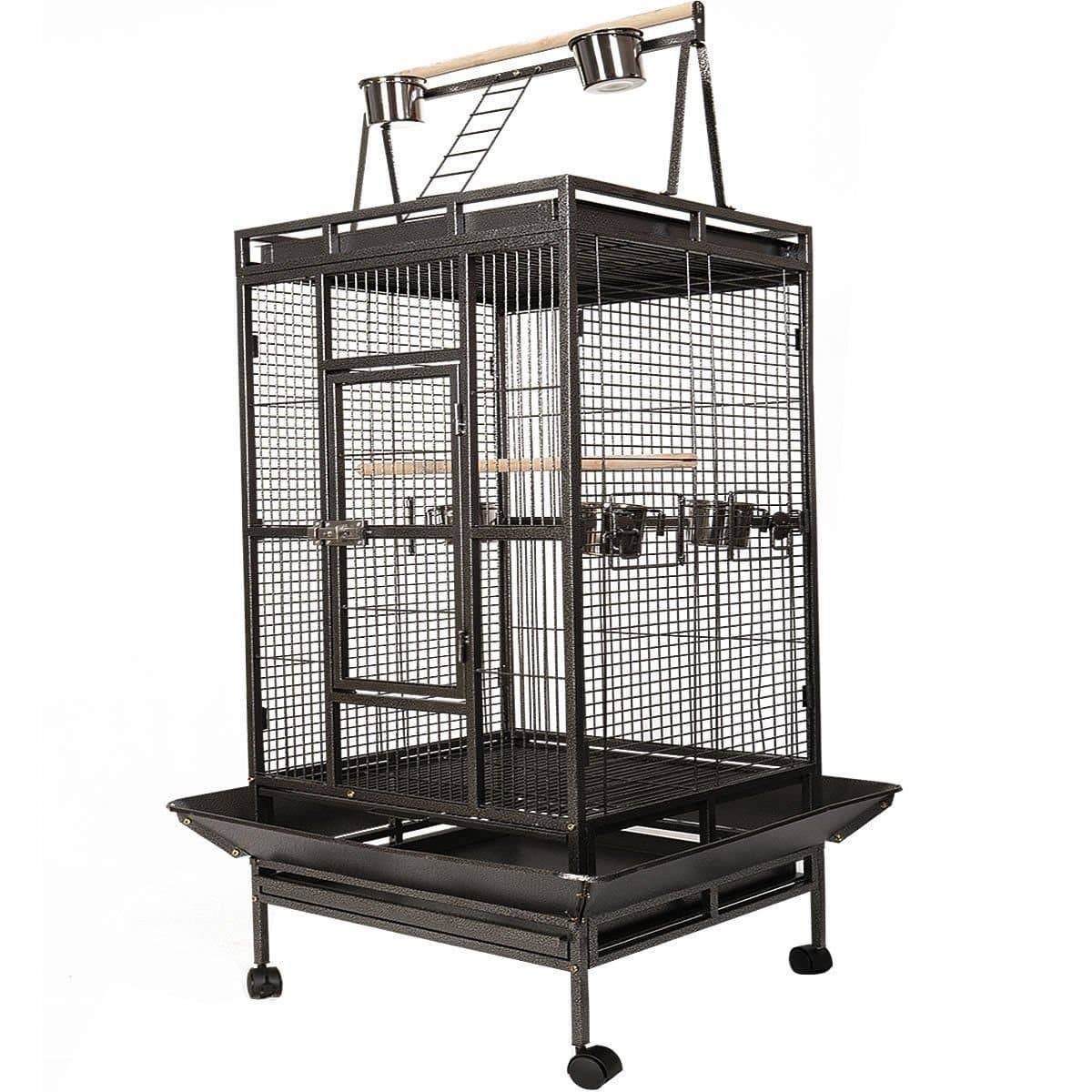 Cost way Black Bird Cage Large Play Top Parrot Finch Cage Macaw Cockatoo