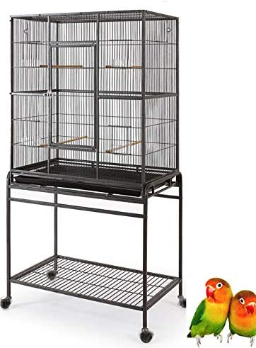 Mcage Large Wrought Iron Flight Canary Parakeet Cockatiel Lovebird Finch Sugar Glider Cage with Removable Stand Bird Cage