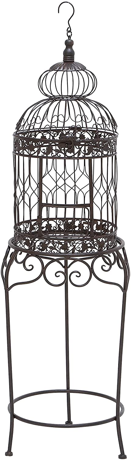 Benzara Victorian Style Bird Cage With Wrought Iron